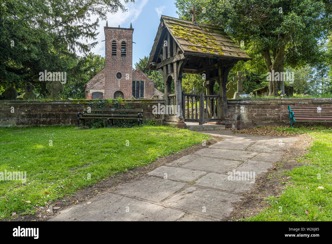 St Werburgh's Old Church, Warburton near to the Cheshire town of Lymm. Named after a Saxon abbess who became the patron saint of Chester. The church d - Stock Image