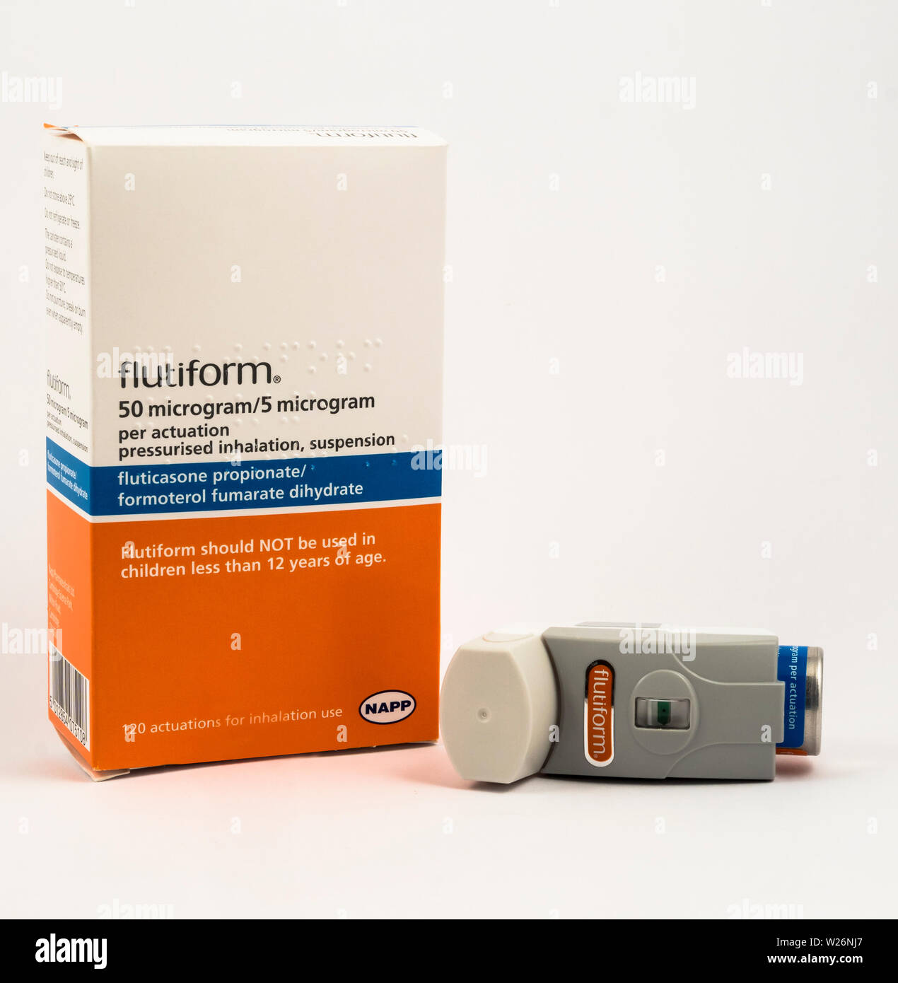 Flutiform pressurised inhalation, suspension Stock Photo