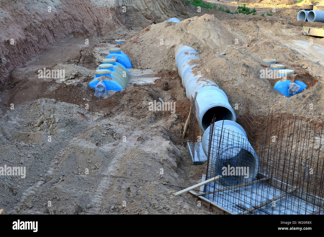 Laying or replacement of underground storm sewer pipes  Installation
