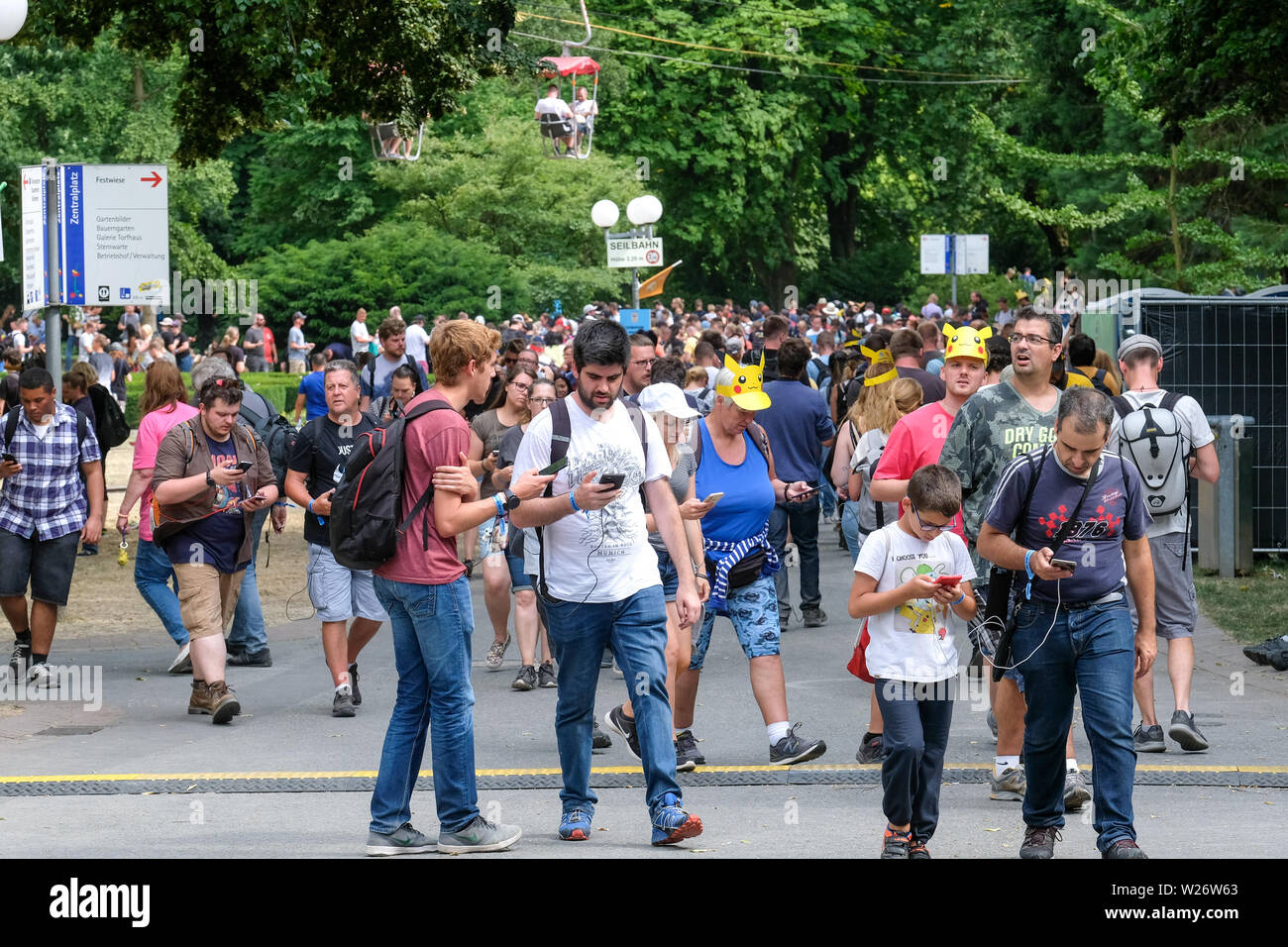 Dortmund, Germany, July 06, 2019: Players attend Pokemon Go Fest at