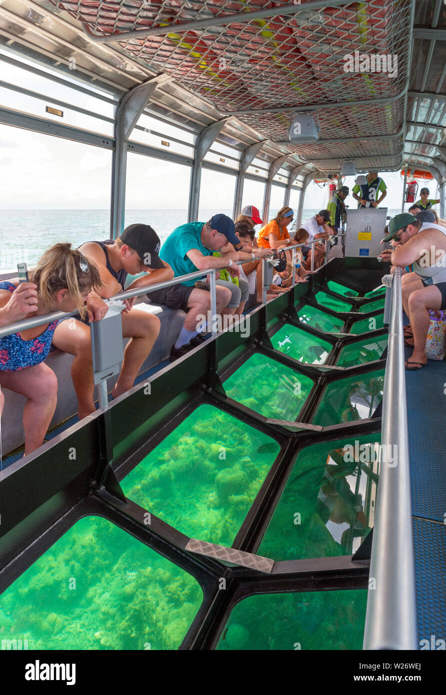 Glass-Bottom boat off Green Island, a coral cay in the Great Barrier Reef Marine Park, Queensland, Australia Stock Photo