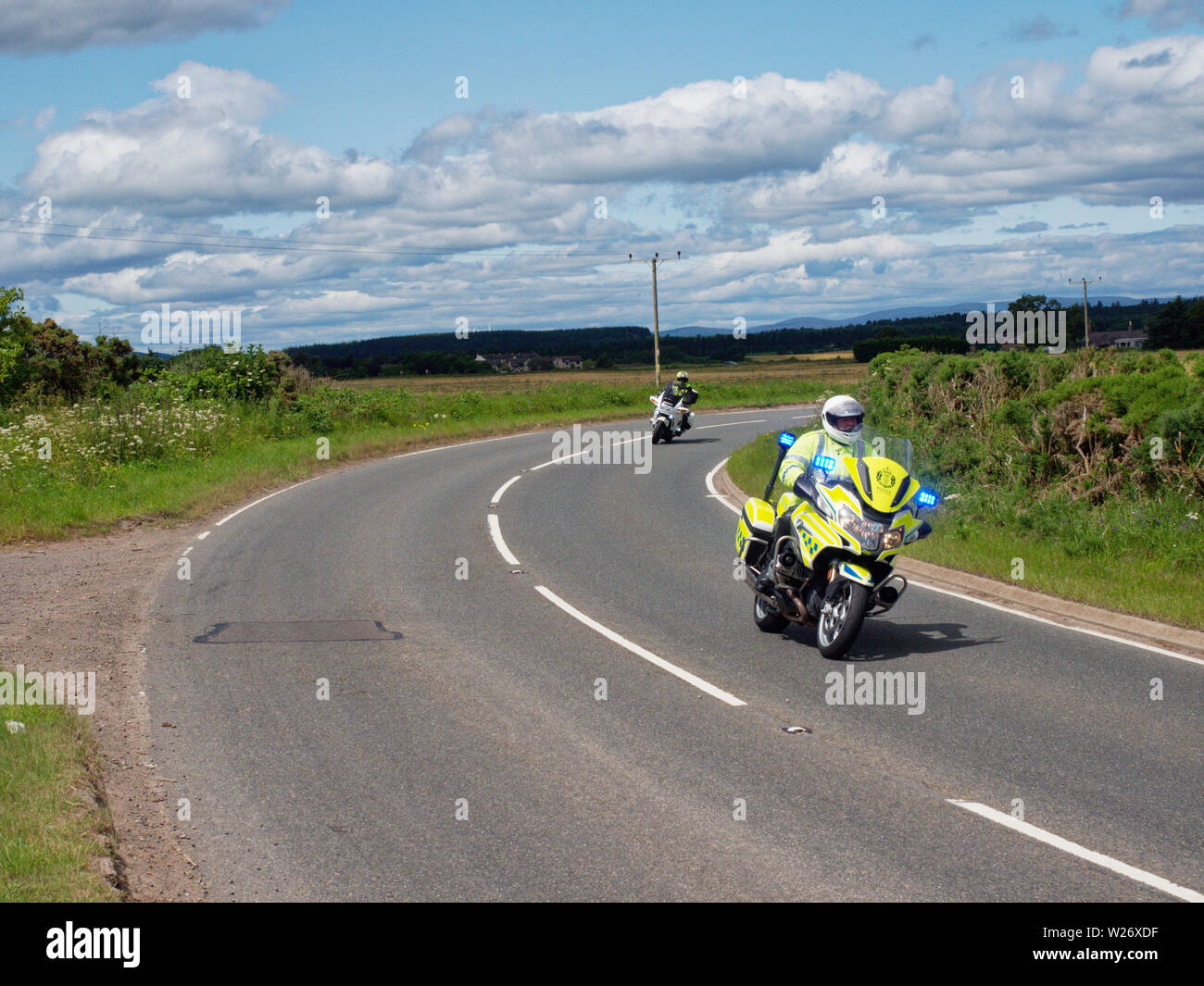 Harley Davidson Motorbikes on a Country Road near to Friockheim in Angus as part of the Brechin Harley Davidson in the City Meet. Scotland, July 6th 2 - Stock Image