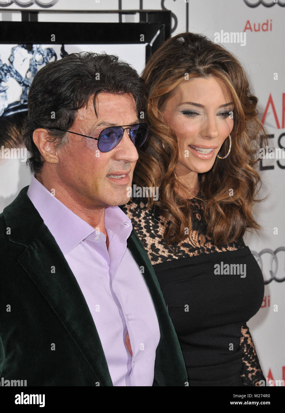 LOS ANGELES, CA. November 11, 2010: Sylvester Stallone & wife Jennifer Flavin at the Los Angeles premiere of 'Black Swan', the closing film of the 2010 AFI Fest, at Grauman's Chinese Theatre, Hollywood. © 2010 Paul Smith / Featureflash - Stock Image