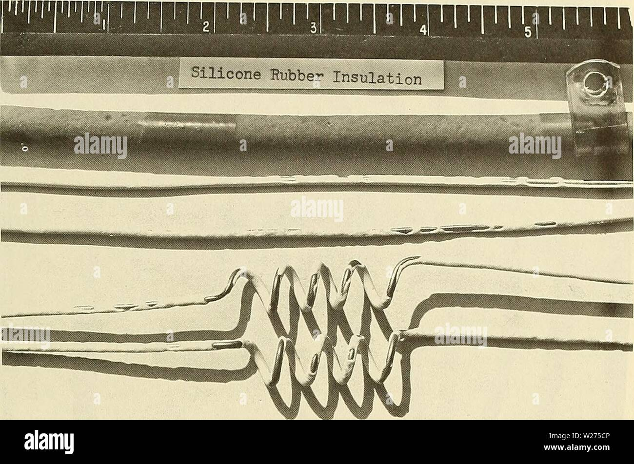 Archive image from page 40 of Deep-ocean biodeterioration of materials (1965). Deep-ocean biodeterioration of materials  deepoceanbiodete02mura Year: 1965  Figure B-18. Wire showing through silicone rubber insulation where the material was deteriorated by nibbling of marine organisms. Stock Photo