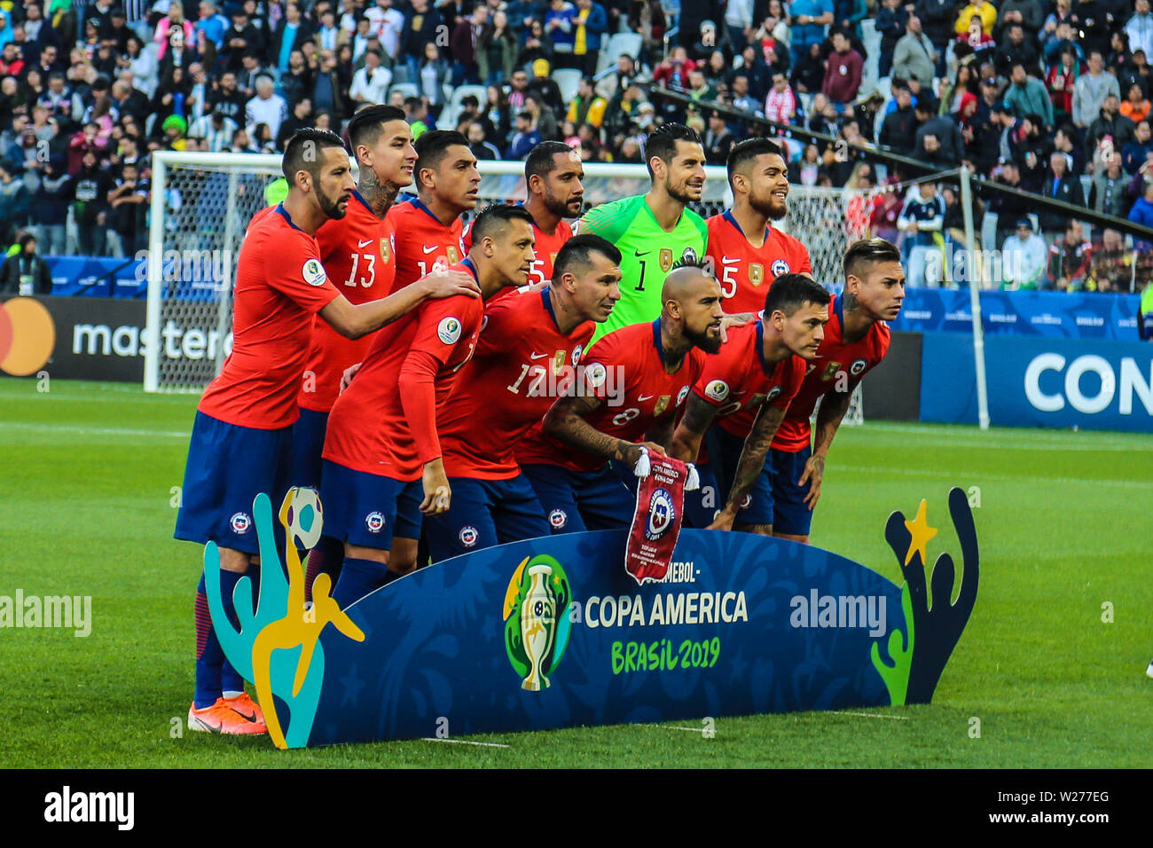 Brazil. 6th July, 2019. Game of the match between Argentina X Chile valid for third place dispute of Copa America 2019, in the Arena Corinthians, in São Paulo, this Saturday (06). Photo: Geraldo Bubniak Credit: Geraldo Bubniak/ZUMA Wire/Alamy Live News Stock Photo