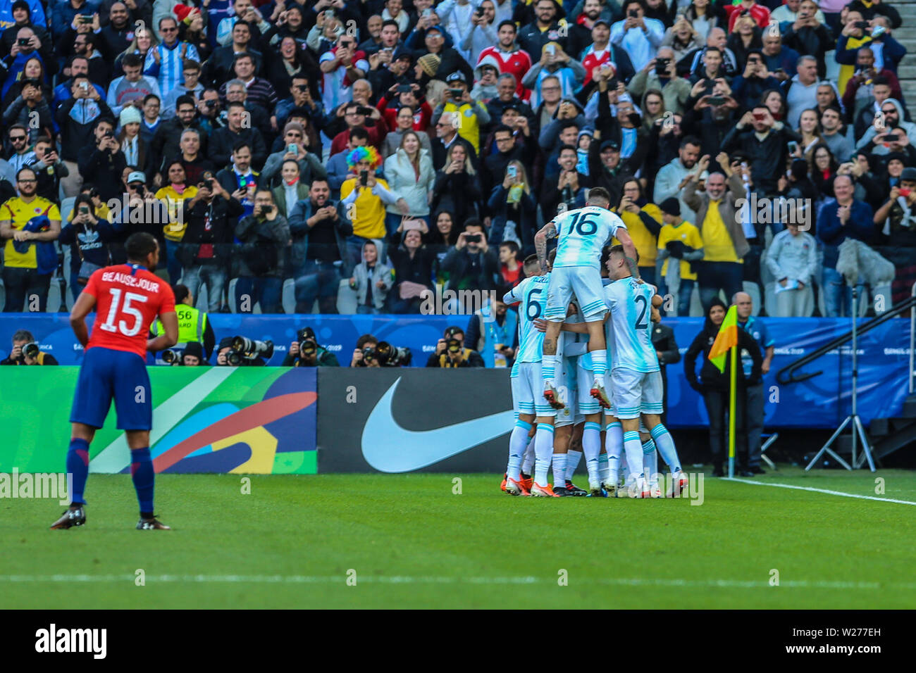 Brazil. 6th July, 2019. Aguero celebrate goal in the Game of the match between Argentina X Chile valid for third place dispute of Copa America 2019, in the Arena Corinthians, in São Paulo, this Saturday (06). Photo: Geraldo Bubniak Credit: Geraldo Bubniak/ZUMA Wire/Alamy Live News Stock Photo