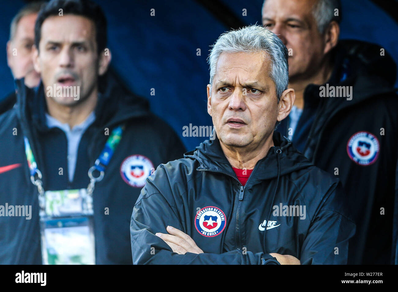 Brazil. 6th July, 2019. Reinaldo Rueda in the Game of the match between Argentina X Chile valid for third place dispute of Copa America 2019, in the Arena Corinthians, in São Paulo, this Saturday (06). Photo: Geraldo Bubniak Credit: Geraldo Bubniak/ZUMA Wire/Alamy Live News - Stock Image