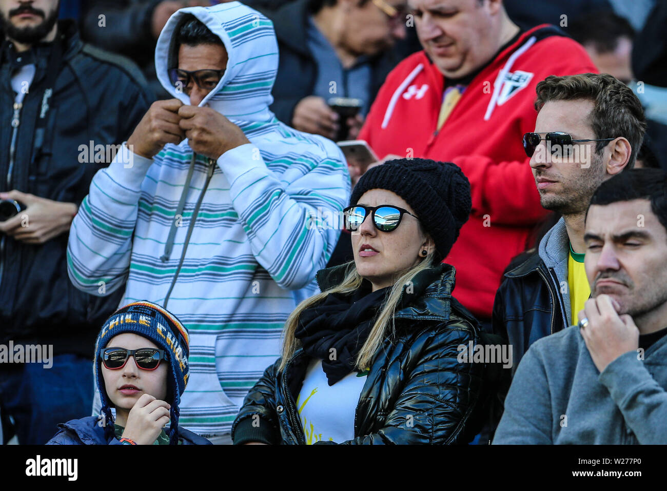 Brazil. 6th July, 2019. Fans in the Game of the match between Argentina X Chile valid for third place dispute of Copa America 2019, in the Arena Corinthians, in São Paulo, this Saturday (06). Photo: Geraldo Bubniak Credit: Geraldo Bubniak/ZUMA Wire/Alamy Live News - Stock Image