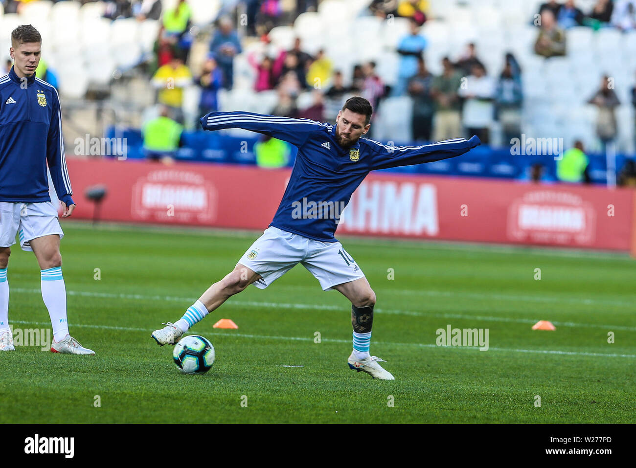 Brazil. 6th July, 2019. Messi in the Game of the match between Argentina X Chile valid for third place dispute of Copa America 2019, in the Arena Corinthians, in São Paulo, this Saturday (06). Photo: Geraldo Bubniak Credit: Geraldo Bubniak/ZUMA Wire/Alamy Live News Stock Photo
