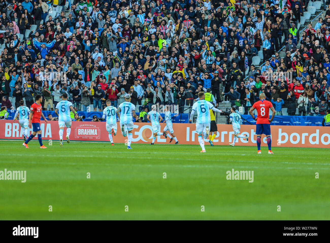 Brazil. 6th July, 2019. Dybala celebrate goal in the Game of the match between Argentina X Chile valid for third place dispute of Copa America 2019, in the Arena Corinthians, in São Paulo, this Saturday (06). Photo: Geraldo Bubniak Credit: Geraldo Bubniak/ZUMA Wire/Alamy Live News - Stock Image