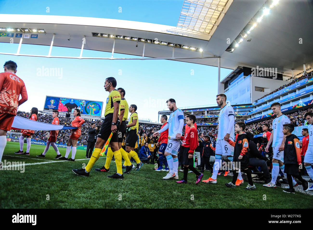 Brazil. 6th July, 2019. Lionel Messi in the Game of the match between Argentina X Chile valid for third place dispute of Copa America 2019, in the Arena Corinthians, in São Paulo, this Saturday (06). Photo: Geraldo Bubniak Credit: Geraldo Bubniak/ZUMA Wire/Alamy Live News - Stock Image