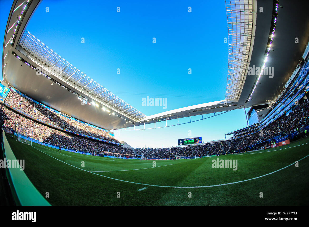 Brazil. 6th July, 2019. Game of the match between Argentina X Chile valid for third place dispute of Copa America 2019, in the Arena Corinthians, in São Paulo, this Saturday (06). Photo: Geraldo Bubniak Credit: Geraldo Bubniak/ZUMA Wire/Alamy Live News - Stock Image