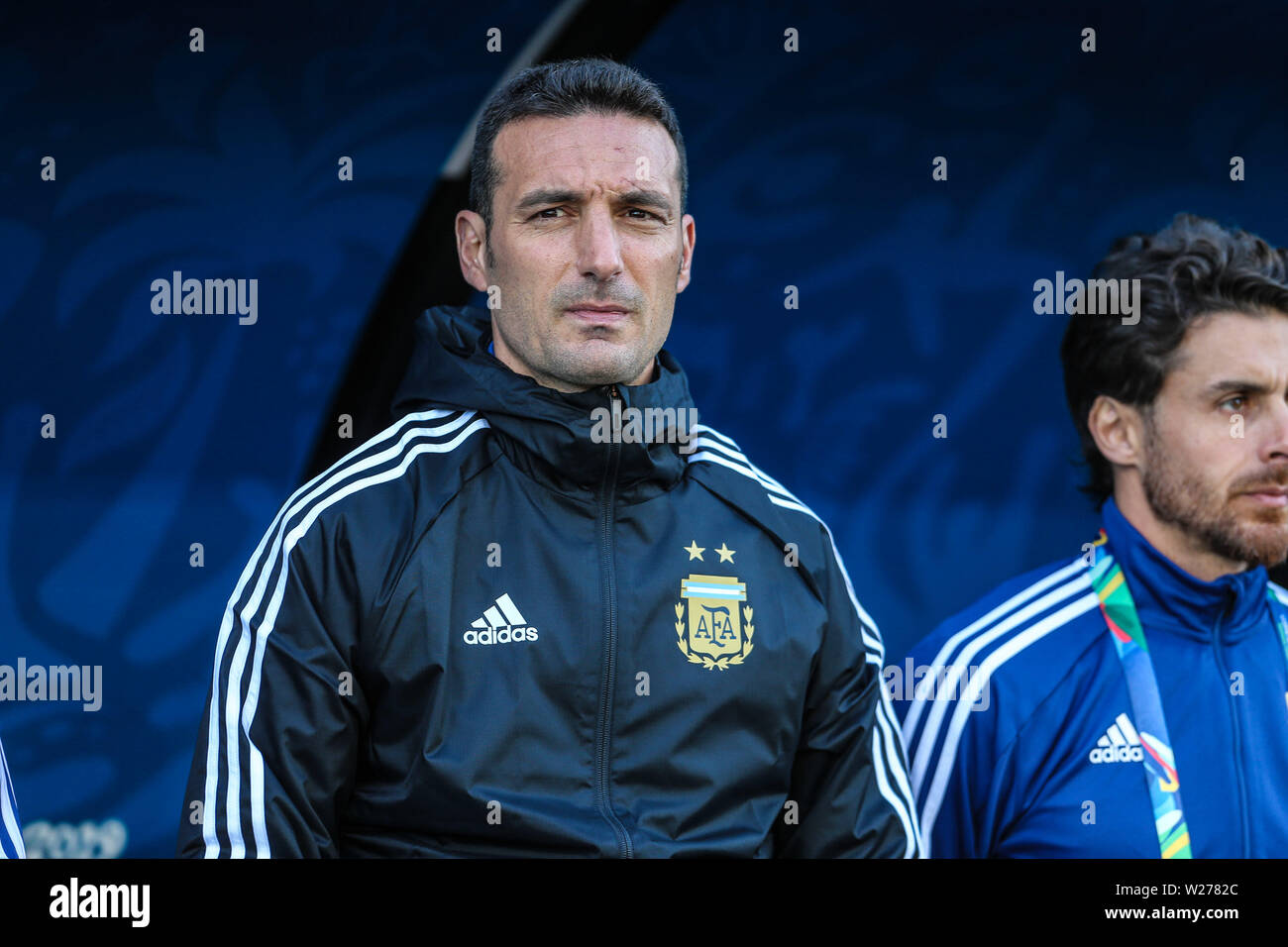 Brazil. 6th July, 2019. Dt Lionel Scaloni in the Game of the match between Argentina X Chile valid for third place dispute of Copa America 2019, in the Arena Corinthians, in São Paulo, this Saturday (06). Photo: Geraldo Bubniak Credit: Geraldo Bubniak/ZUMA Wire/Alamy Live News - Stock Image