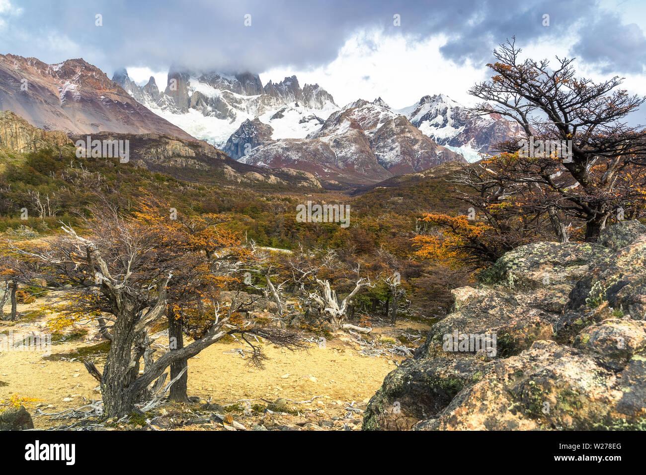 Fitz Roy mount in Los Glaciares National Park, El Chalten,Patagonia, Argentina. - Stock Image