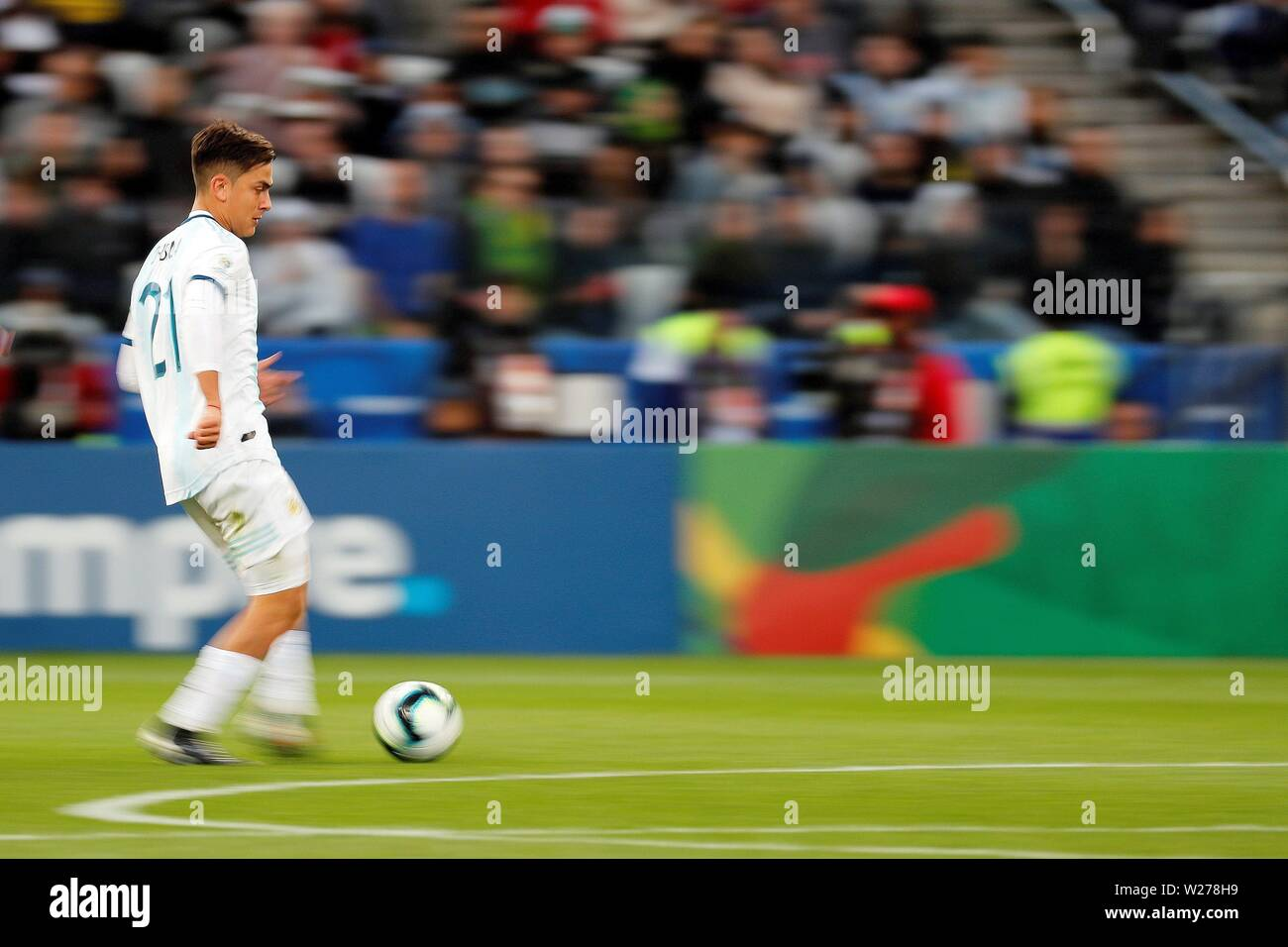 Sao Paulo, Brazil. 06th July, 2019. Argentina's Paulo Dybala in action during the Copa America 2019 3rd place soccer match between Argentina and Chile, at Arena Corinthians Stadium in Sao Paulo, Brazil, 6 July 2019. Credit: Paulo Whitaker/EFE/Alamy Live News - Stock Image