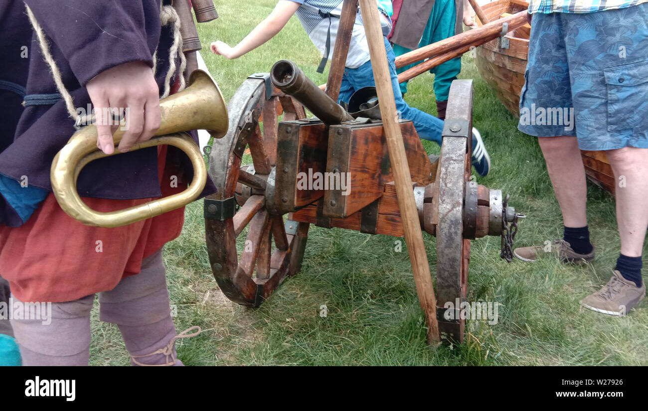 Ancient - Russian cannon. 14th century Shoots cores. Riplika, put on display. Russia. - Stock Image