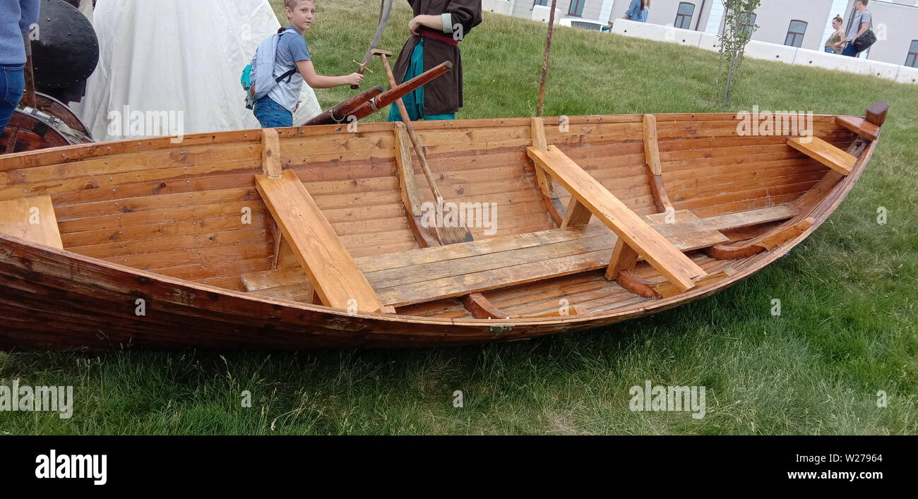 Wooden boat for trips on the Volga River. Russia. Stock Photo