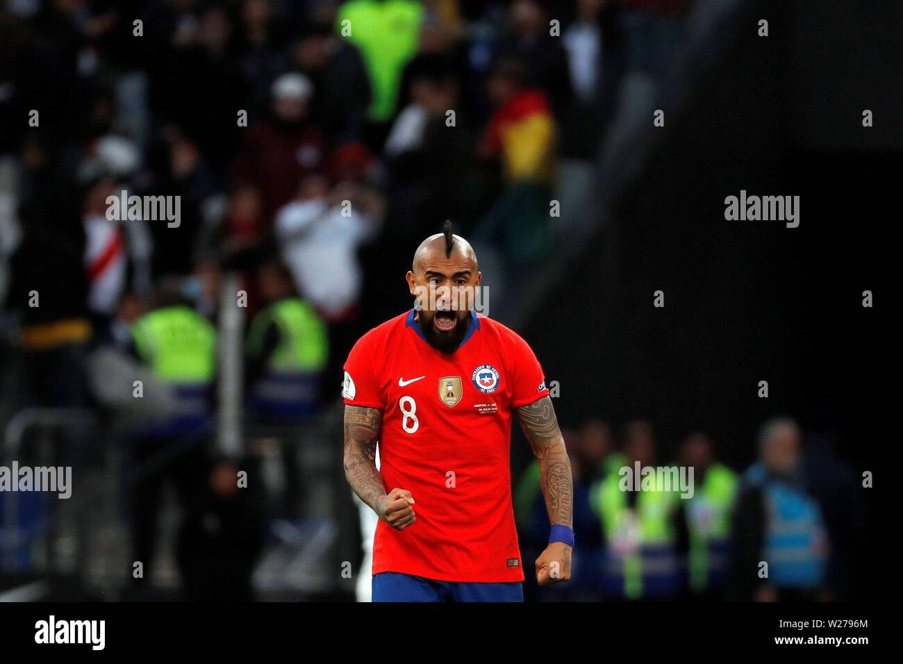 Sao Paulo, Brazil. 06th July, 2019. Argentina's players argue with referee Mario Diaz de Vivar during the Copa America 2019 3rd place soccer match between Argentina and Chile, at Arena Corinthians Stadium in Sao Paulo, Brazil, 6 July 2019. Credit: Paulo Whitaker/EFE/Alamy Live News - Stock Image