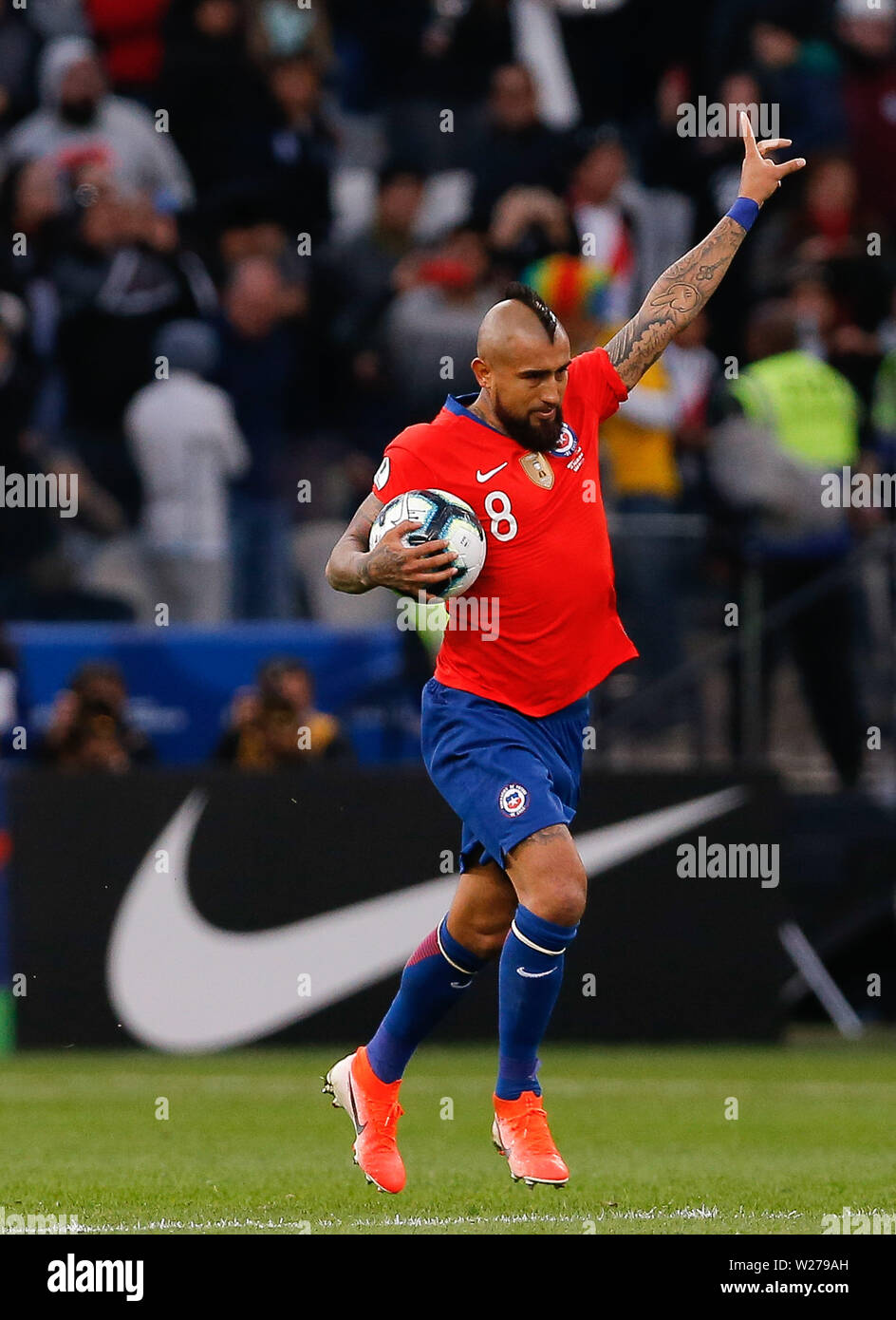 SÃO PAULO, SP - 06.07.2019: ARGENTINA VS. CHILE - Arturo Vidal of Chile celebrates after scoring a penalty in a penalty marked by VAR during a match between Argentina and Chile, valid for the dispute of the third place of Copa America 2019, held this Saturday (06) at the Corinthians Arena in São Paulo, SP. (Photo: Marcelo Machado de Melo/Fotoarena) - Stock Image