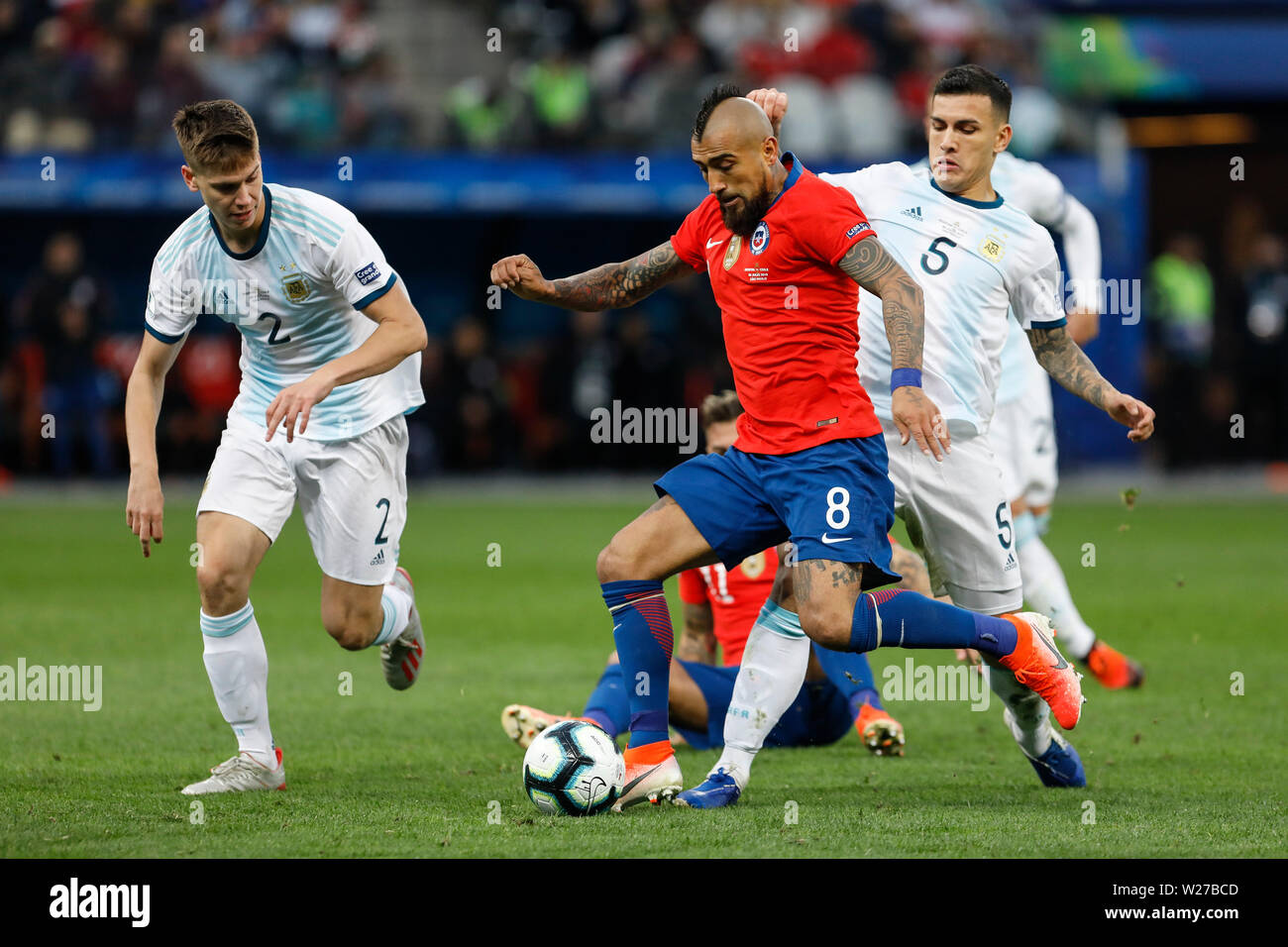 SÃO PAULO, SP - 06.07.2019: ARGENTINA VS. CHILE - Arturo Vidal during match between Argentina and Chile, valid for the dispute of the third place of Copa America 2019, held this Saturday (06) at the Corinthians Arena in São Paulo, SP. (Photo: Ricardo Moreira/Fotoarena) - Stock Image