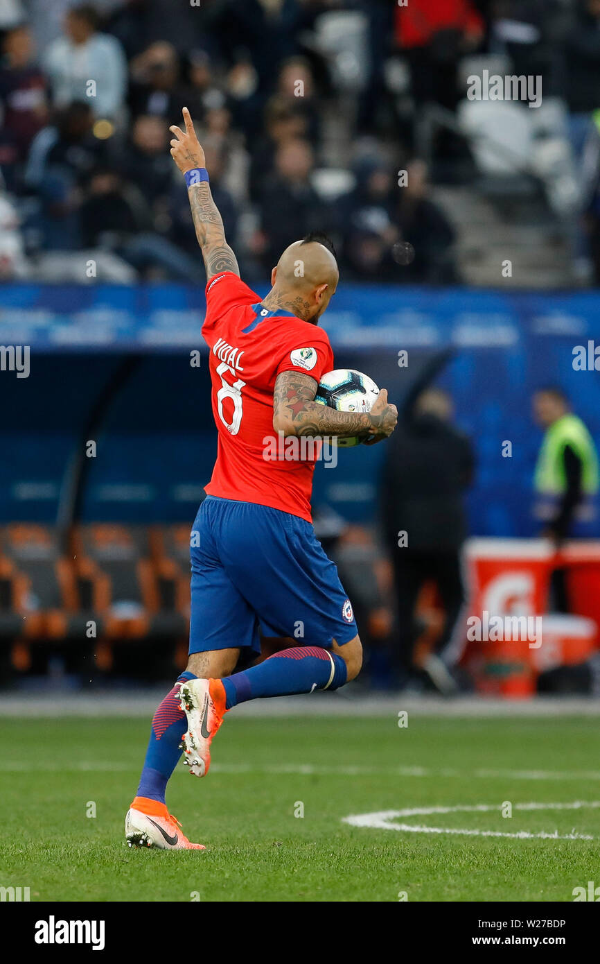 SÃO PAULO, SP - 06.07.2019: ARGENTINA VS. CHILE - Arturo Vidal celebrates his goal, the first of Chile during a match between Argentina and Chile, valid for the dispute of the third place of Copa América 2019, held this Saturday (06) at the Corinthians Arena in São Paulo, SP. (Photo: Ricardo Moreira/Fotoarena) - Stock Image