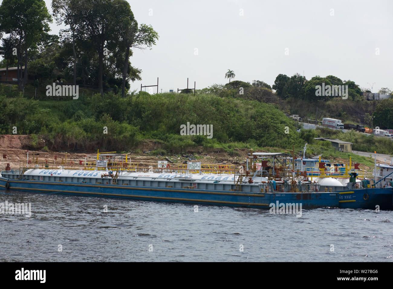 Embark and Disembarkation of Gas, Amazônia, Manaus, Amazonas, Brazil - Stock Image