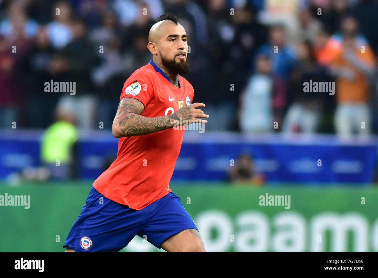 Sao Paulo, Brazil, July 06nd, 2019 -  - Match between Argentina and Chile, valid for the competition of 3rd place of CONMEBOL Copa América Brasil 2019, held in the Corinthians Arena, on the afternoon of this saturday, 06. (Credit: Eduardo Carmim/Alamy Live News) - Stock Image