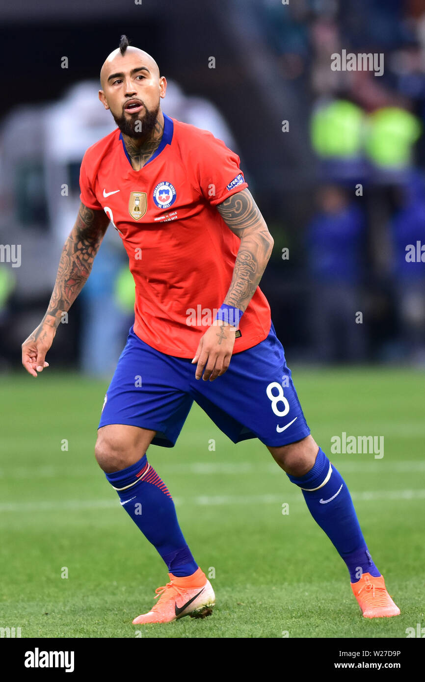 Sao Paulo, Brazil, July 06nd, 2019 - Vidal - Match between Argentina and Chile, valid for the competition of 3rd place of CONMEBOL Copa América Brasil 2019, held in the Corinthians Arena, on the afternoon of this saturday, 06. (Credit: Eduardo Carmim/Alamy Live News) - Stock Image