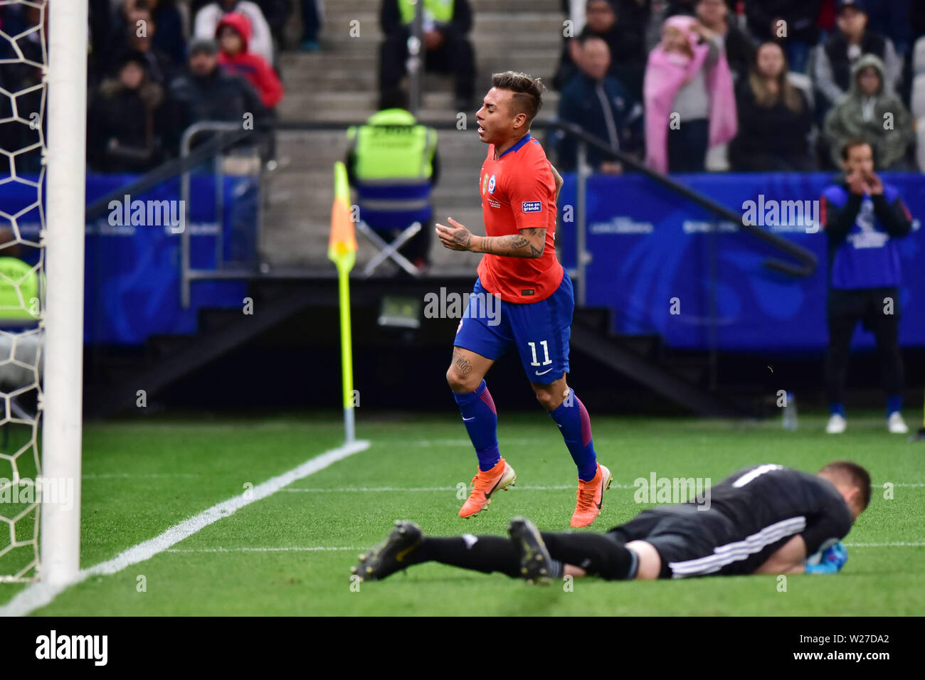 Sao Paulo, Brazil, July 06nd, 2019 - Eduardo Vargas - Match between Argentina and Chile, valid for the competition of 3rd place of CONMEBOL Copa América Brasil 2019, held in the Corinthians Arena, on the afternoon of this saturday, 06. (Credit: Eduardo Carmim/Alamy Live News) - Stock Image