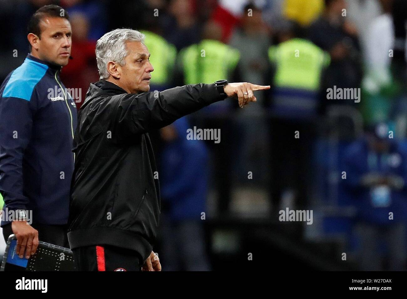 Sao Paulo, Brazil. 06th July, 2019. Chile's head coach Reinaldo Rueda reacts, during the Copa America 2019 3rd place soccer match between Argentina and Chile, at Arena Corinthians Stadium in Sao Paulo, Brazil, 6 July 2019. Credit: Sebastiao Moreira/EFE/Alamy Live News - Stock Image