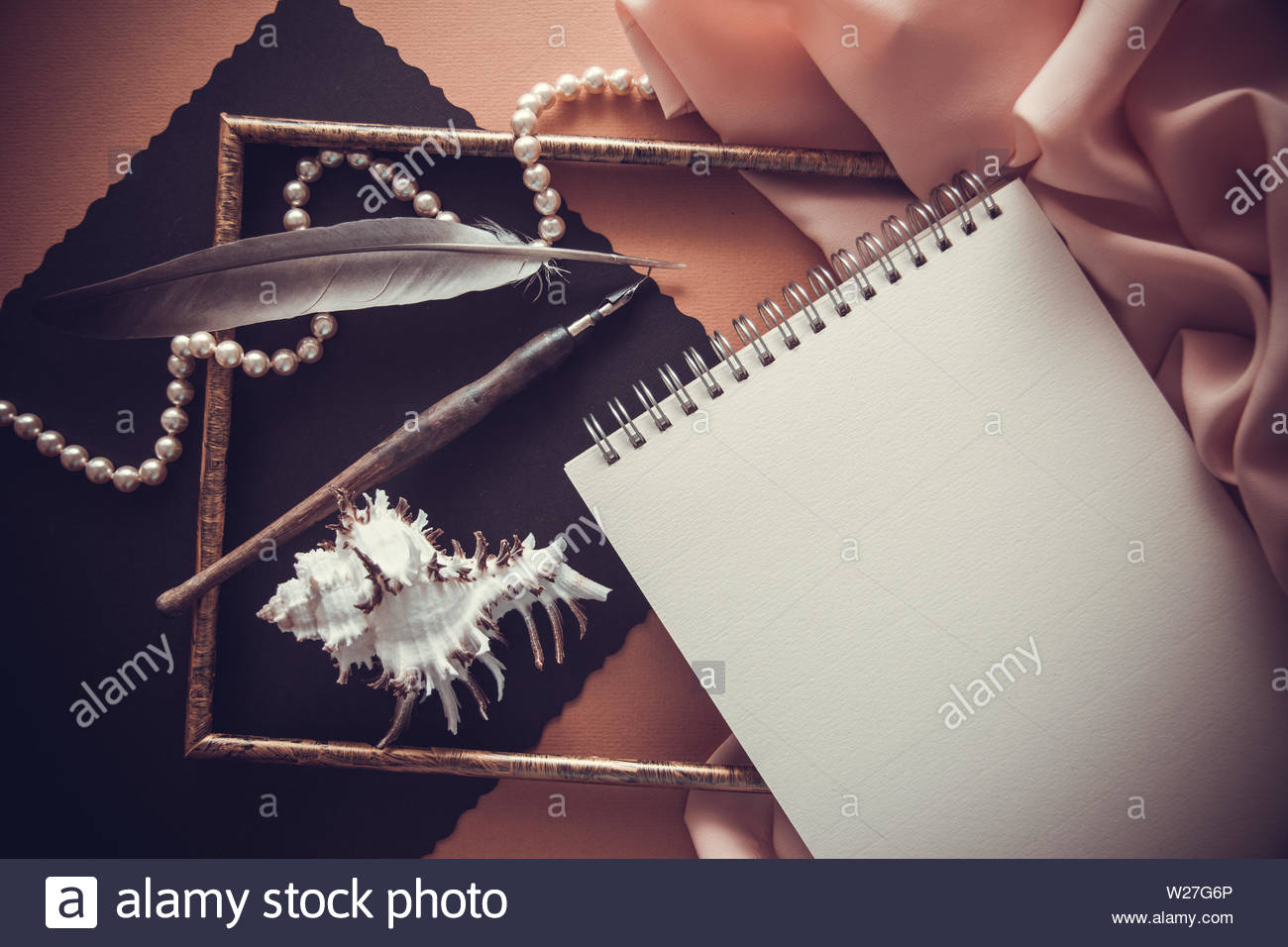 decorative background for illustrating with postcard and articstic accessories - Stock Image