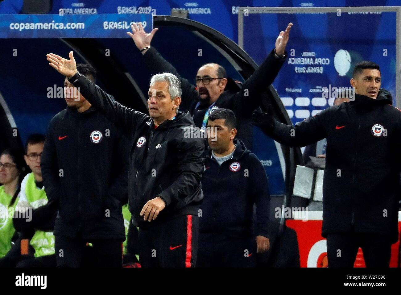 Sao Paulo, Brazil. 06th July, 2019. Chile's head coach Reinaldo Rueda reacts during the Copa America 2019 3rd place soccer match between Argentina and Chile, at Arena Corinthians Stadium in Sao Paulo, Brazil, 6 July 2019. Credit: Paulo Whitaker/EFE/Alamy Live News - Stock Image