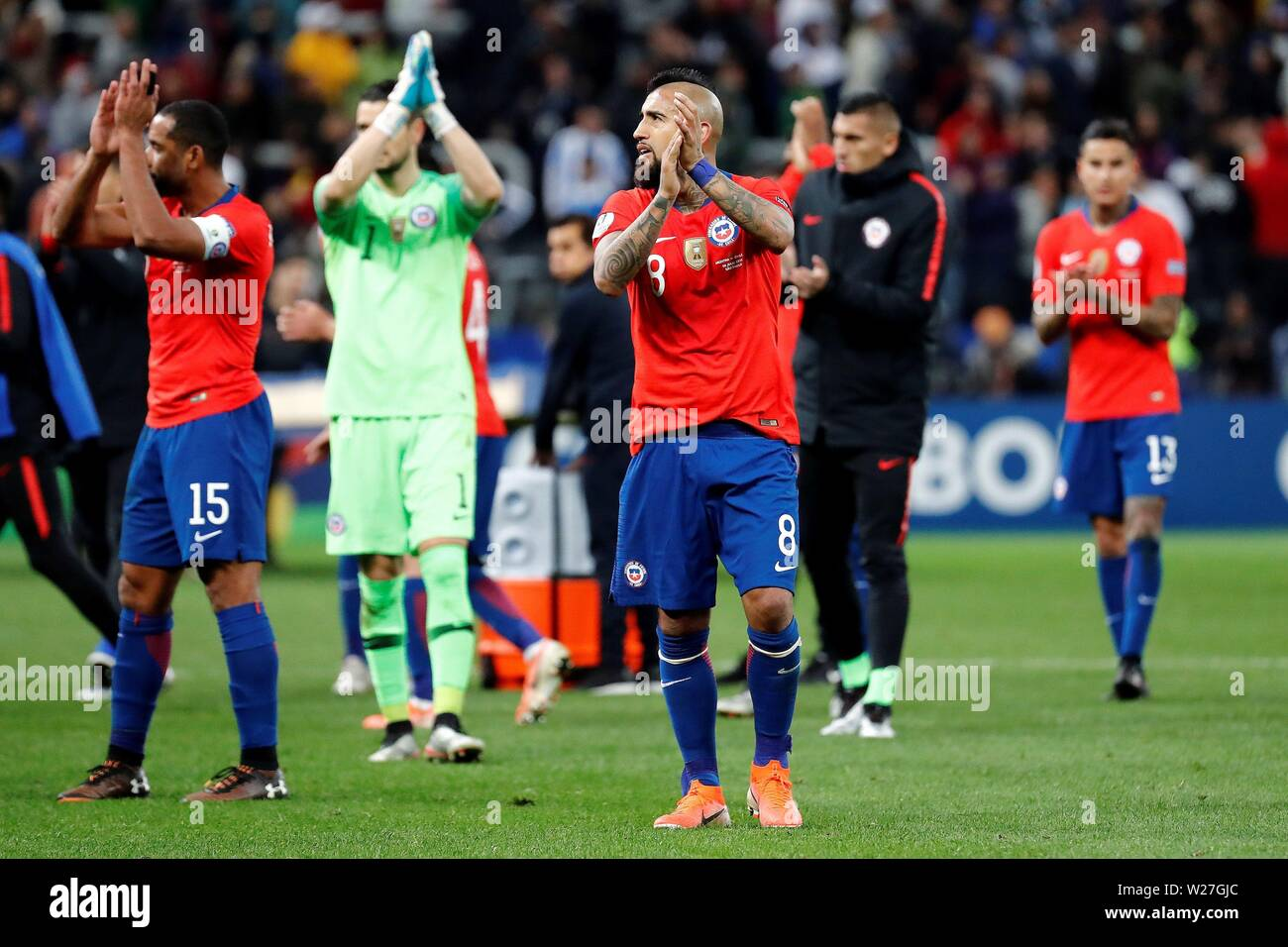 Sao Paulo, Brazil. 06th July, 2019. Chilean players react after being defeated the Copa America 2019 3rd place soccer match between Argentina and Chile, at Arena Corinthians Stadium in Sao Paulo, Brazil, 6 July 2019. Credit: Sebastiao Moreira/EFE/Alamy Live News - Stock Image