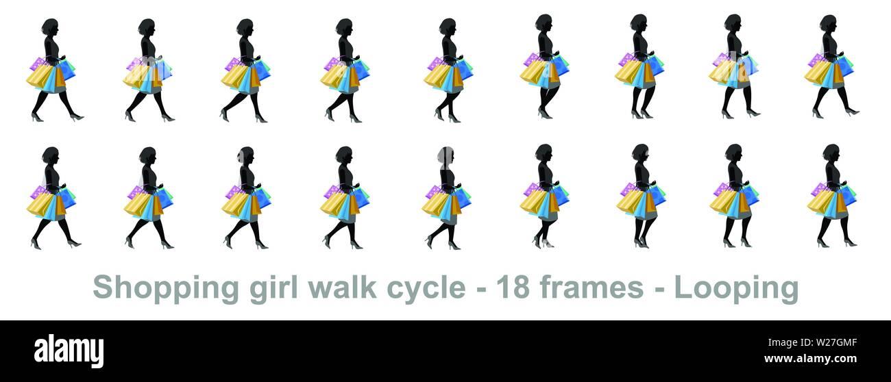 Girl Walk Cycle Animation Sprites Loop Animation Sprite Sheet Vector Stock Vector Image Art Alamy
