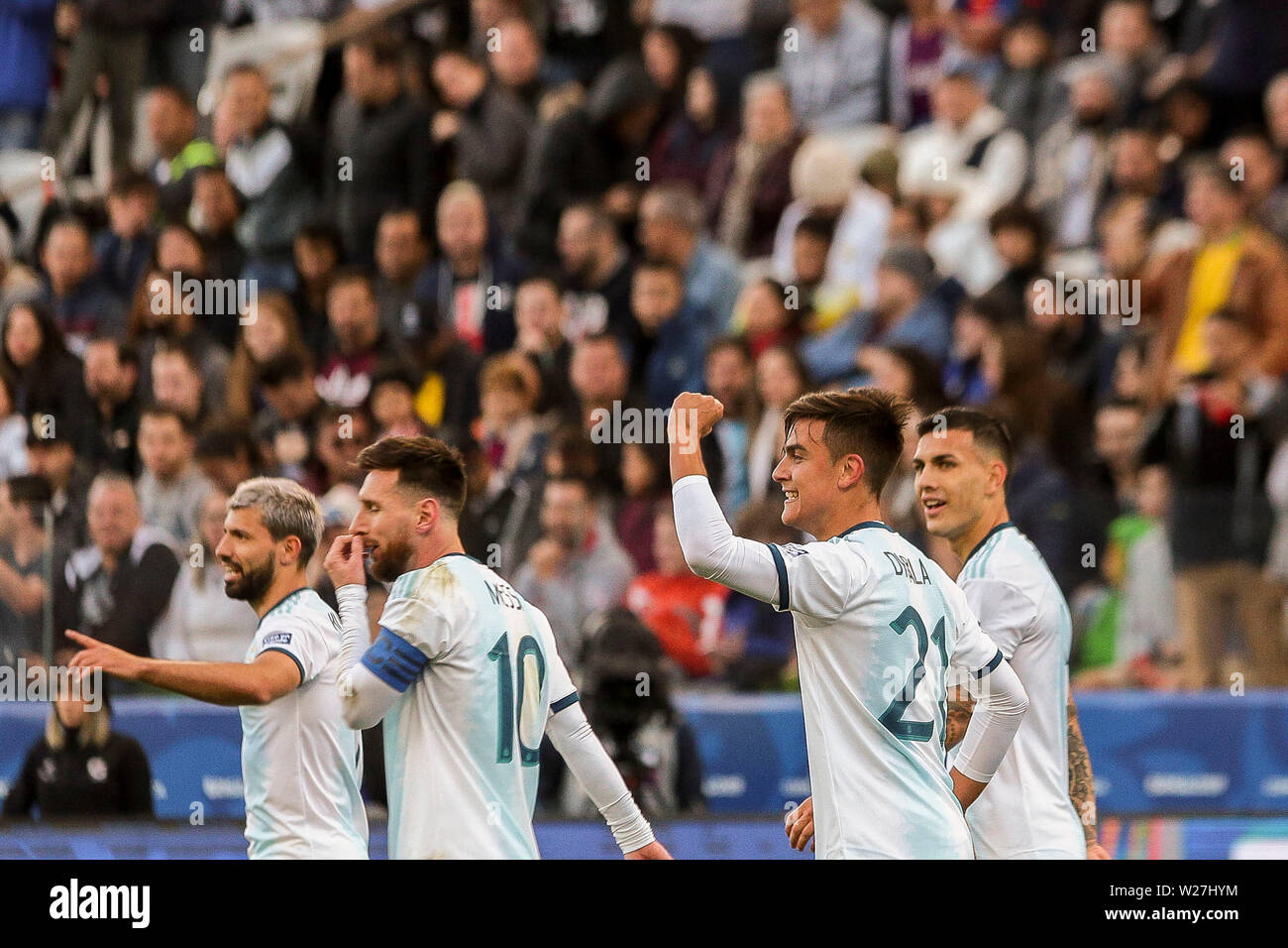 6th July 2019, Arena Corinthians Stadium, Sao Paulo, Brazil; Copa America international football, 3rd-4th playoff final, Argentina versus Chile; Paulo Dybala of Argentina celebrates his goal for 2-0 in minute 22 of the game - Stock Image