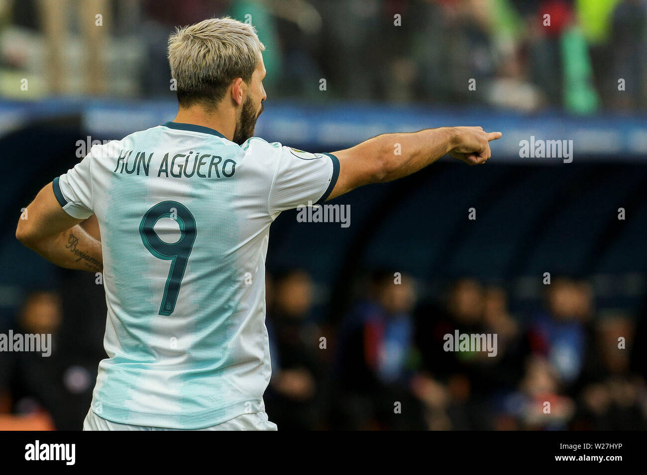 6th July 2019, Arena Corinthians Stadium, Sao Paulo, Brazil; Copa America international football, 3rd-4th playoff final, Argentina versus Chile; Sergio Agüero of Argentina celebrates his goal for 1-0 in the 12th minute - Stock Image