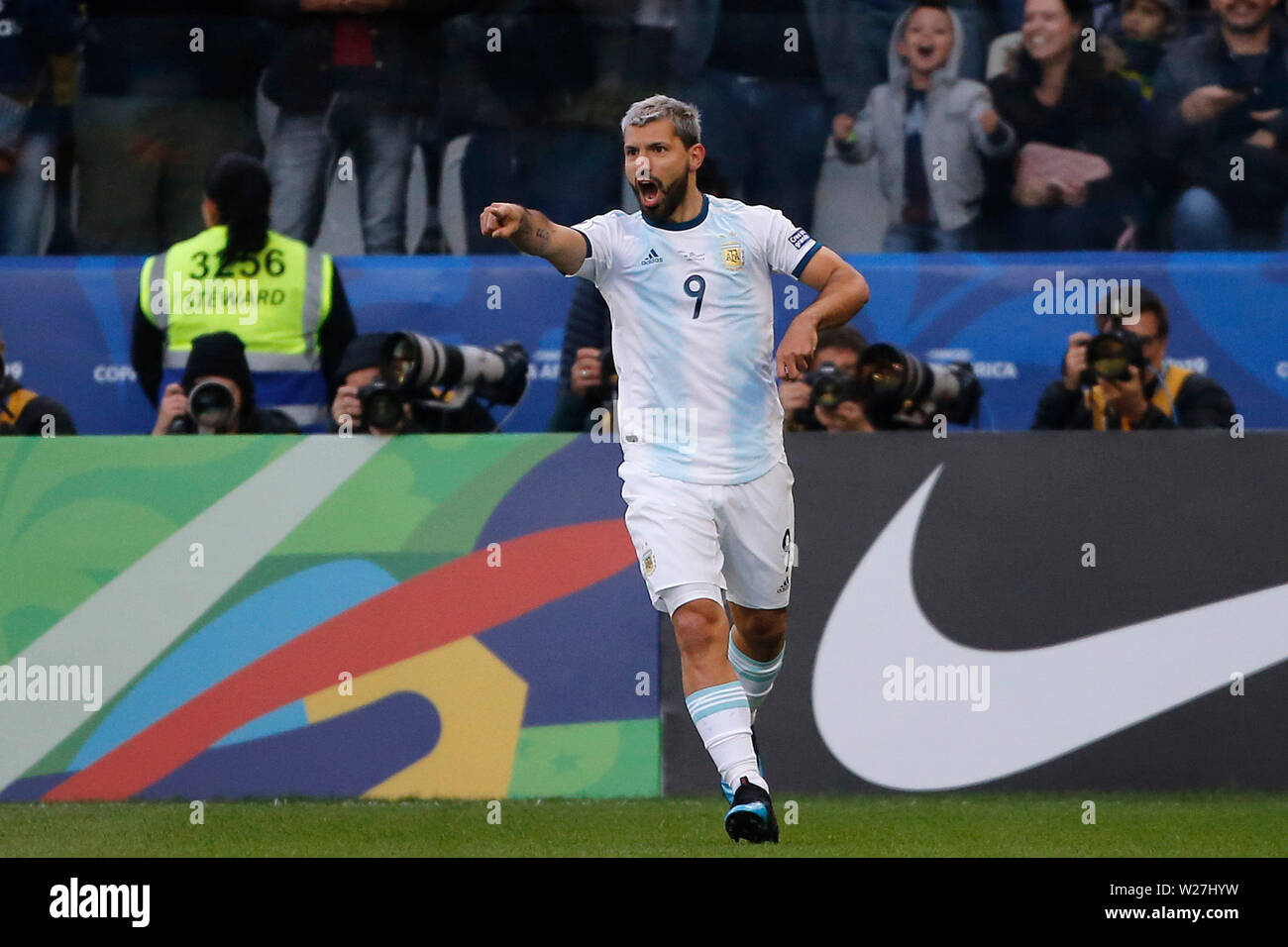 6th July 2019, Arena Corinthians Stadium, Sao Paulo, Brazil; Copa America international football, 3rd-4th playoff final, Argentina versus Chile; Sergio Agüero of Argentina celebrates his goal for 1-0 in the 12th minute Stock Photo