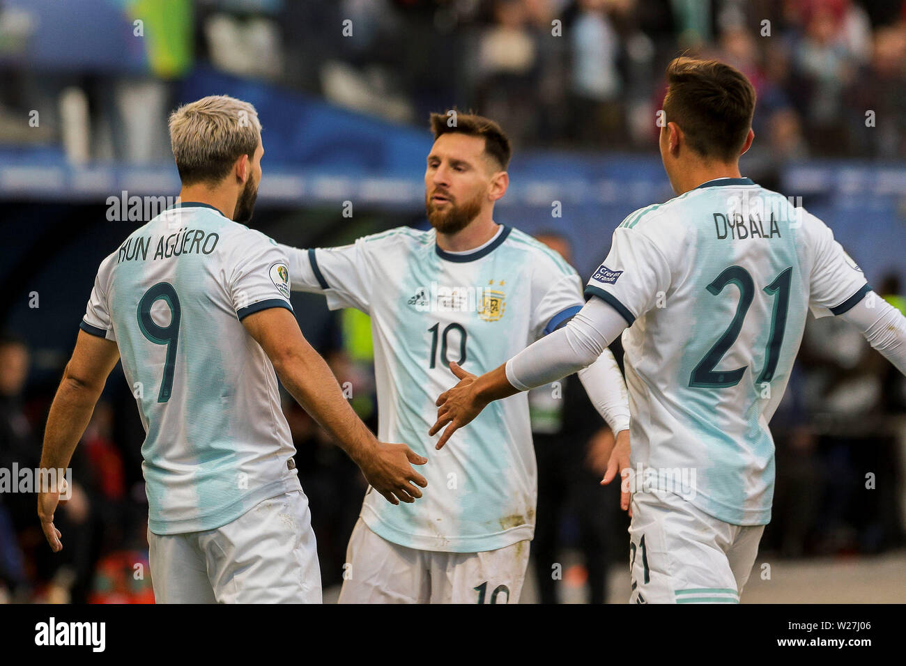 6th July 2019, Arena Corinthians Stadium, Sao Paulo, Brazil; Copa America international football, 3rd-4th playoff final, Argentina versus Chile; Sergio Agüero of Argentina celebrates his goal for 1-0 in the 12th minute with Lionel Messi 1-0 - Stock Image