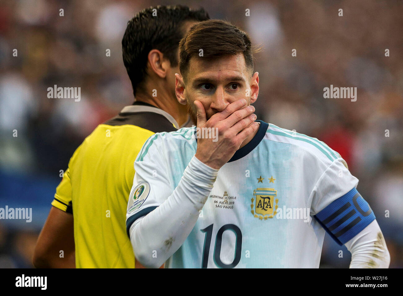 sport Football SAO PAULO, BRAZIL - JULY 06, 2019 Argentina vs Chile, third place - Arena Corinthians Stadium, Sao Paulo, Brazil - July 06, 2019. Photo: Léo Pinheiro/DiaEsportivo in the pic: Lionel Messi of Argentina - Stock Image