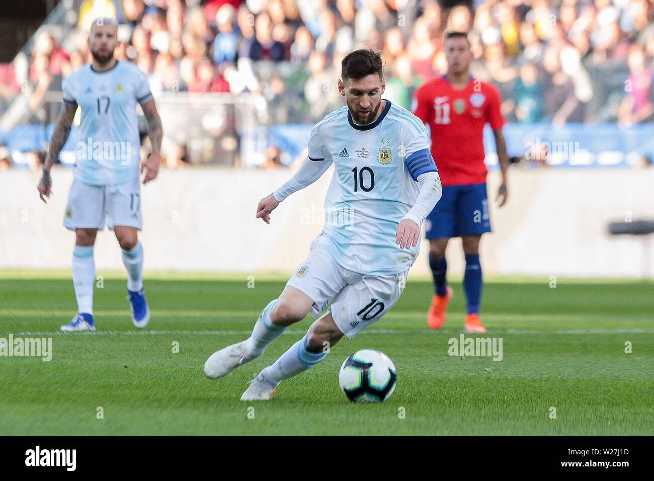 6th July 2019, Arena Corinthians Stadium, Sao Paulo, Brazil; Copa America international football, 3rd-4th playoff final, Argentina versus Chile; Lionel Messi of Argentina gets a goal chance early in the game - Stock Image