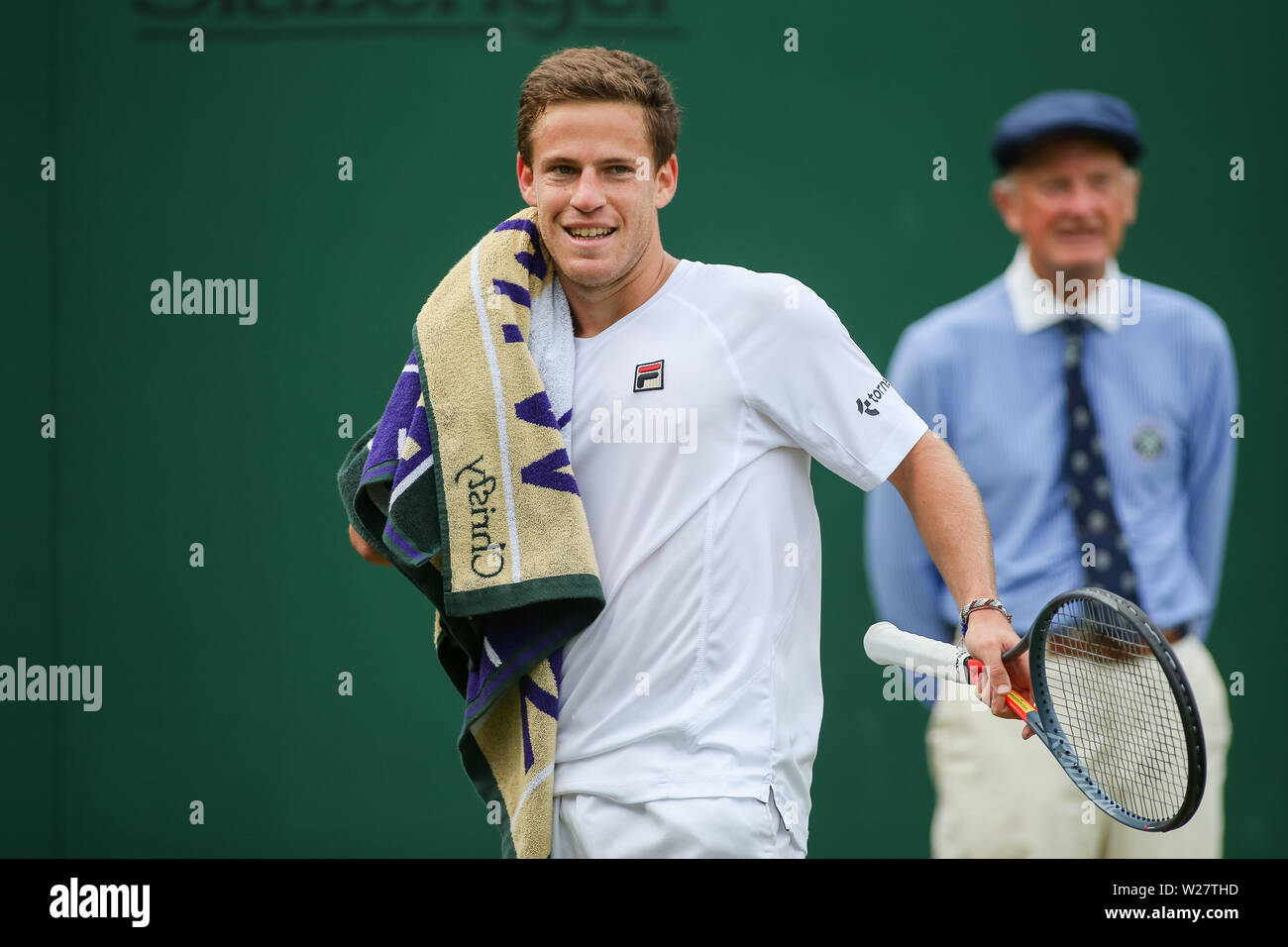 Wimbledon, London, UK. 6th July, 2019. Diego Schwartzman of Argentina reacts during the men's singles third round match of the Wimbledon Lawn Tennis Championships against Matteo Berrettini of Italy at the All England Lawn Tennis and Croquet Club in London, England on July 6, 2019. Credit: AFLO/Alamy Live News - Stock Image