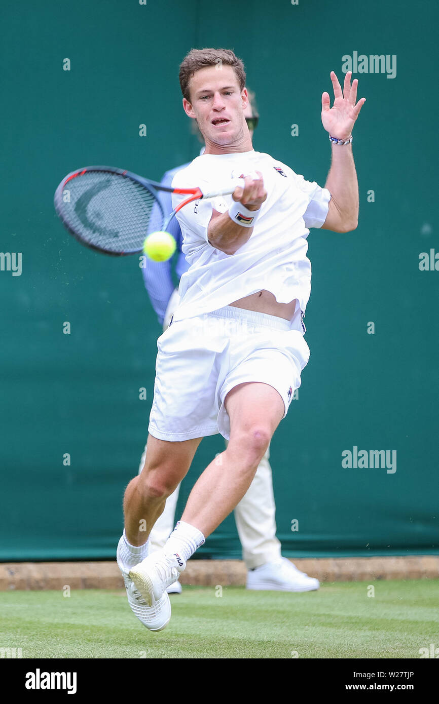 Wimbledon, London, UK. 6th July, 2019. Diego Schwartzman of Argentina during the men's singles third round match of the Wimbledon Lawn Tennis Championships against Matteo Berrettini of Italy at the All England Lawn Tennis and Croquet Club in London, England on July 6, 2019. Credit: AFLO/Alamy Live News - Stock Image