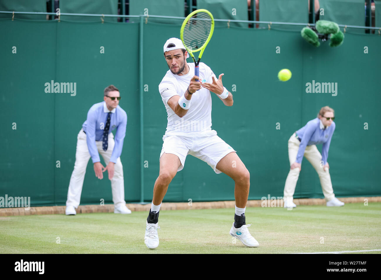 Wimbledon, London, UK. 6th July, 2019. Matteo Berrettini of Italy during the men's singles third round match of the Wimbledon Lawn Tennis Championships against Diego Schwartzman of Argentina at the All England Lawn Tennis and Croquet Club in London, England on July 6, 2019. Credit: AFLO/Alamy Live News - Stock Image