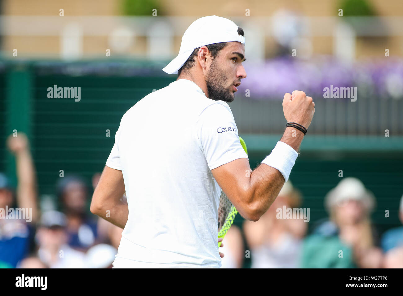 Wimbledon, London, UK. 6th July, 2019. Matteo Berrettini of Italy reacts during the men's singles third round match of the Wimbledon Lawn Tennis Championships against Diego Schwartzman of Argentina at the All England Lawn Tennis and Croquet Club in London, England on July 6, 2019. Credit: AFLO/Alamy Live News - Stock Image
