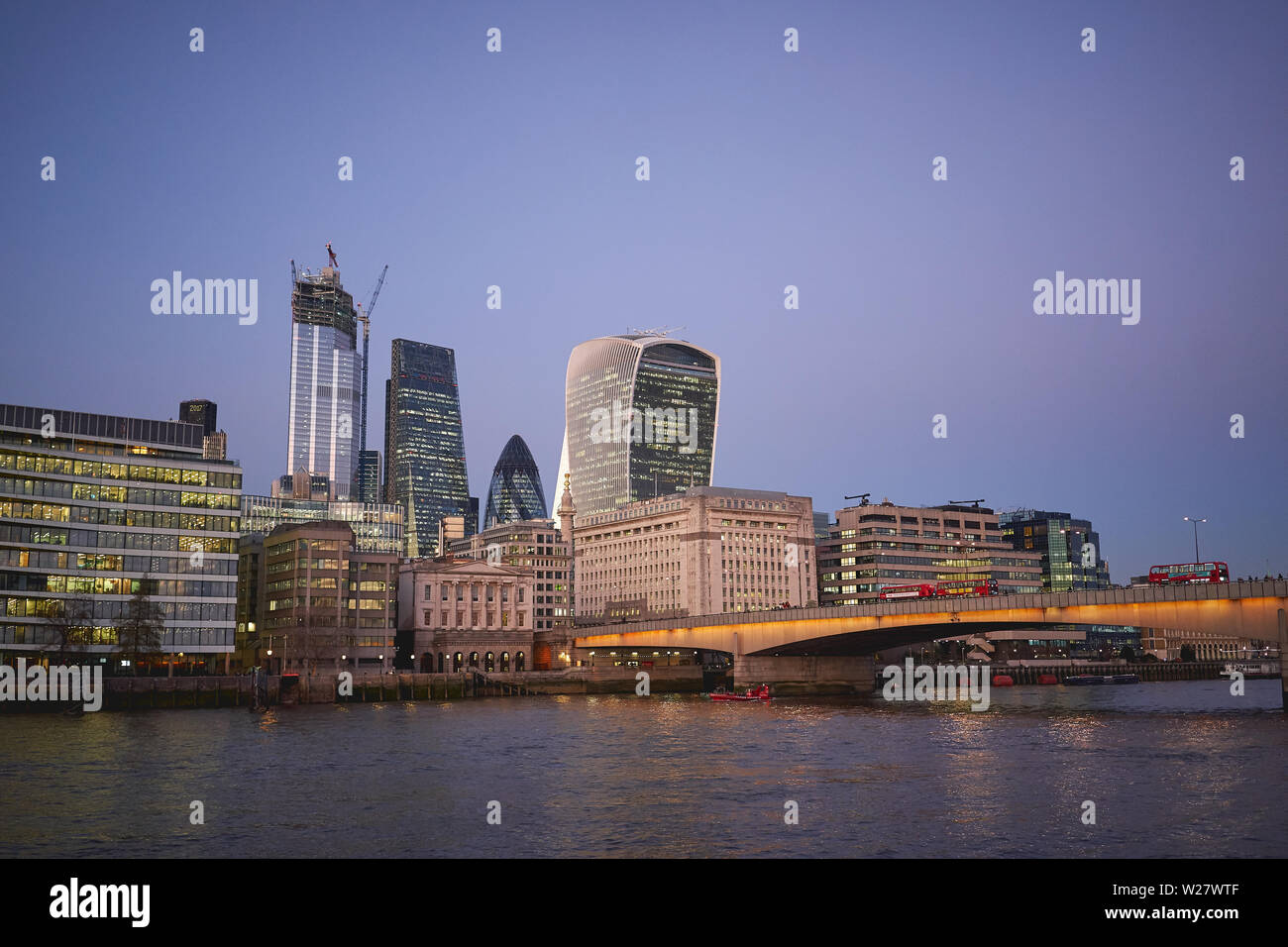 London, UK - February, 2019. View of the City of London, famous financial district, with new skyscrapers under construction. Stock Photo