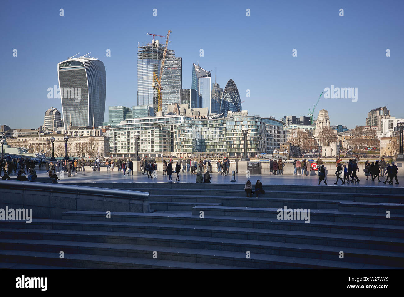 London, UK - February, 2019. View of the City of London, the famous financial district, with new skyscrapers under construction. Stock Photo