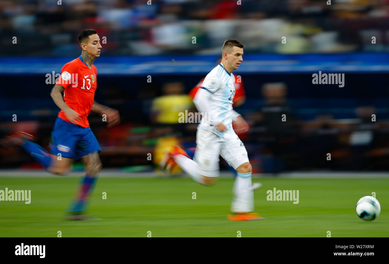 SÃO PAULO, SP - 06.07.2019: ARGENTINA VS. CHILE - Erick Pulgar of Chile and Giovani Lo Celso of Argentina during a match between Argentina and Chile, valid for the competition of the third place of Copa América 2019, held this Saturday (06) at the Corinthians Arena in São Paulo, SP. (Photo: Marcelo Machado de Melo/Fotoarena) - Stock Image