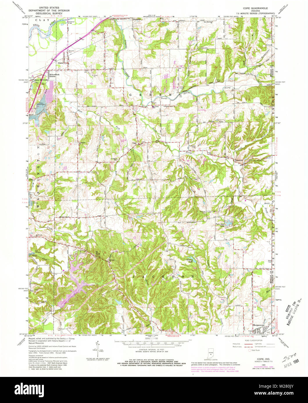 USGS TOPO Map Indiana IN Cope 159675 1965 24000 Restoration - Stock Image