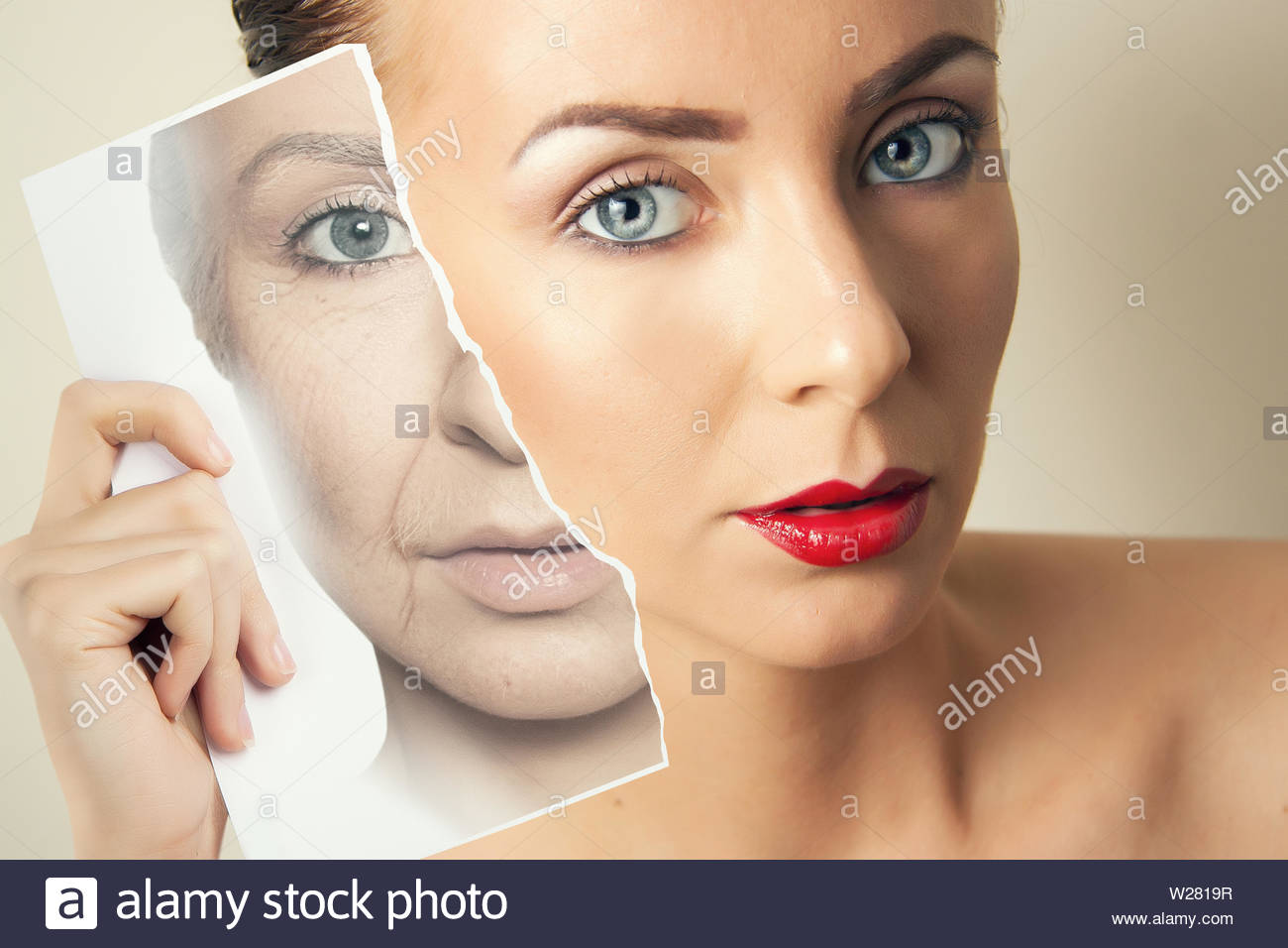 aging problems  of face skin, comparative portrait of young and old skin - Stock Image