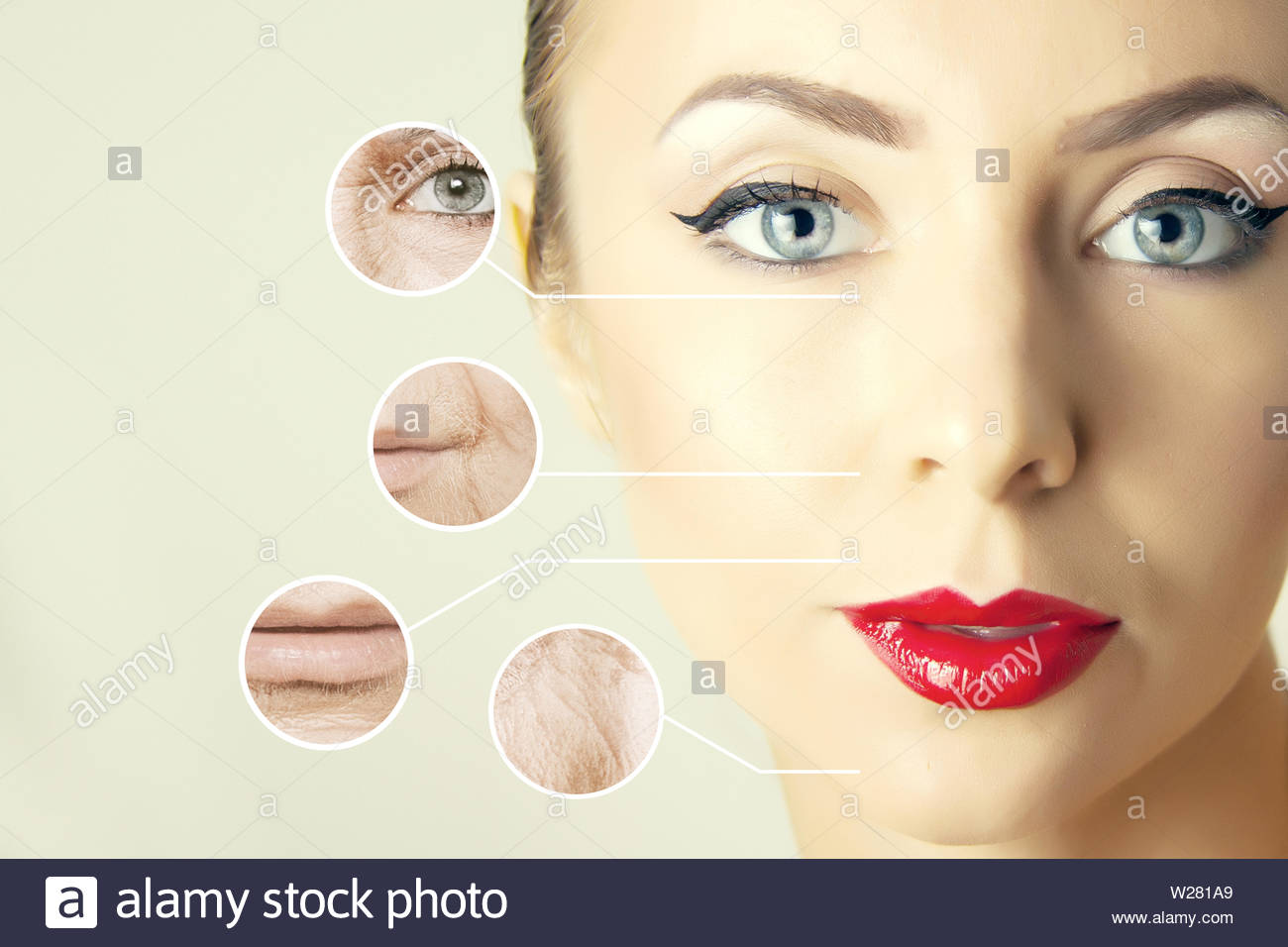aging problems  of face skin, close-up portrait with wrinkles - Stock Image